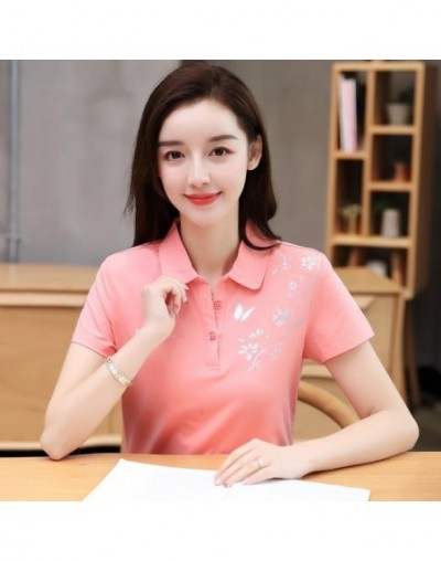 women polo shirts 2018 summer M-4XL cotton female tops print tees solid clothing short sleeve slim ladies clothes ly63 - as ...