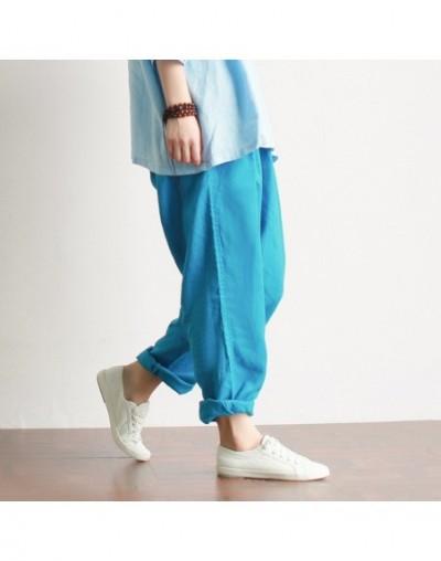 100% Linen Women Harem Pants Elastic waist Casual Summer Pants High quality Plus size Linen Harem Trousers Pants A045 - Sky ...