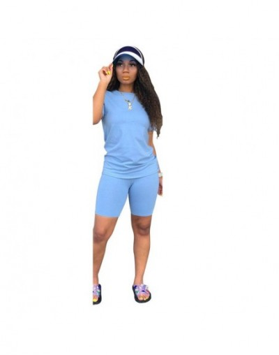Two-piece Solid Color Women's Clothing. Short-sleeved Crew Neck T-shirt and Tight-fitting Shorts. Simple Style Tracksuit Out...