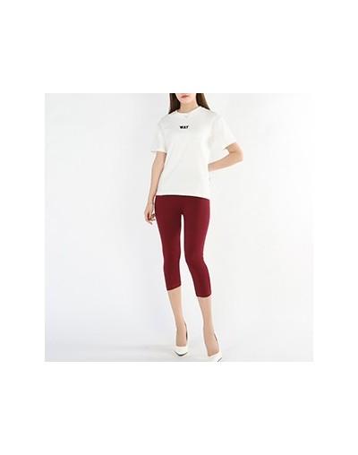 Women Cropped Leggings 3/4 Length Summer Style Candy Color Lady Leggings Plus Size High Elastic Pants Push Up Leggings - win...