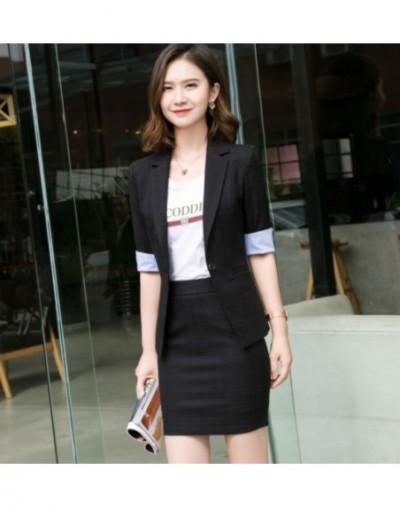 Summer Business skirt suits women plaid stripe fashion half sleeve formal blazer and skirt office ladies work wear - Black c...