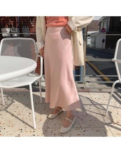 Women Satin Skirt Summer Casual High Waisted Elegant Skirt Women A Line Mid Skirts Female School Girl Skirt Jupe Femme - Pin...