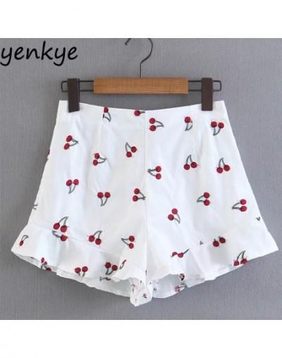 Cherry Embroidery Shorts Women Side Zipper Ruffles Summer Short feminino White High Waist shorts XQB8100 - 4V3959192252