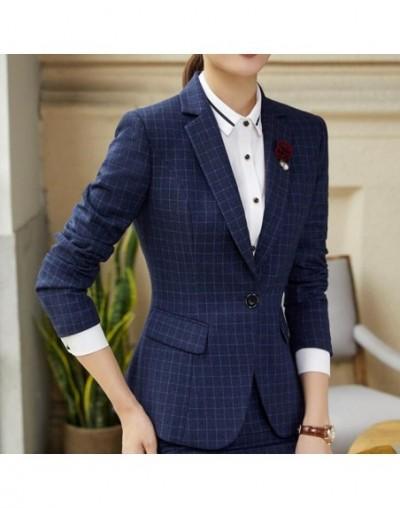 Plaid blazer women fashion clothes winter Korean temperament business long sleeve slim wool jacket office lady work wear - p...
