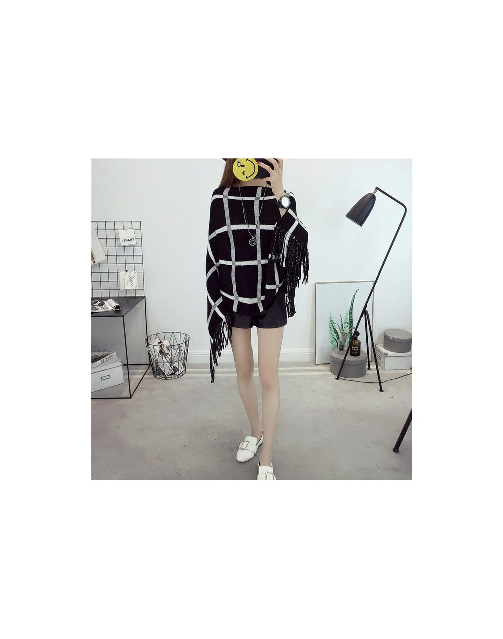 Women Ponchos And Capes Wine Red Bat Sleeve Women Pullover And Sweater Tassels Poncho Cloak Jacket Coat Outwear - black - 46...