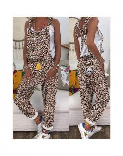 Women Long Rompers Sexy Club Casual Overalls Trendy Backless Harem Leopard Print Jumpsuit - Brown - 4X4149941403-1