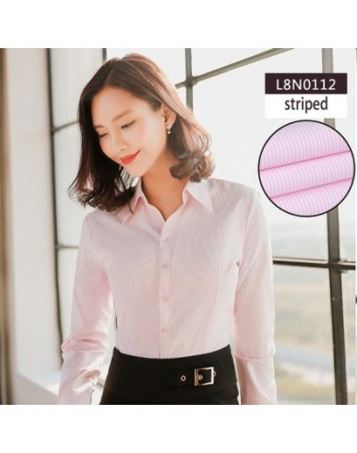 Women blouse long sleeve shirts lady's solid color office social shirts white color slim fit blouses blusa feminina - V-12 -...
