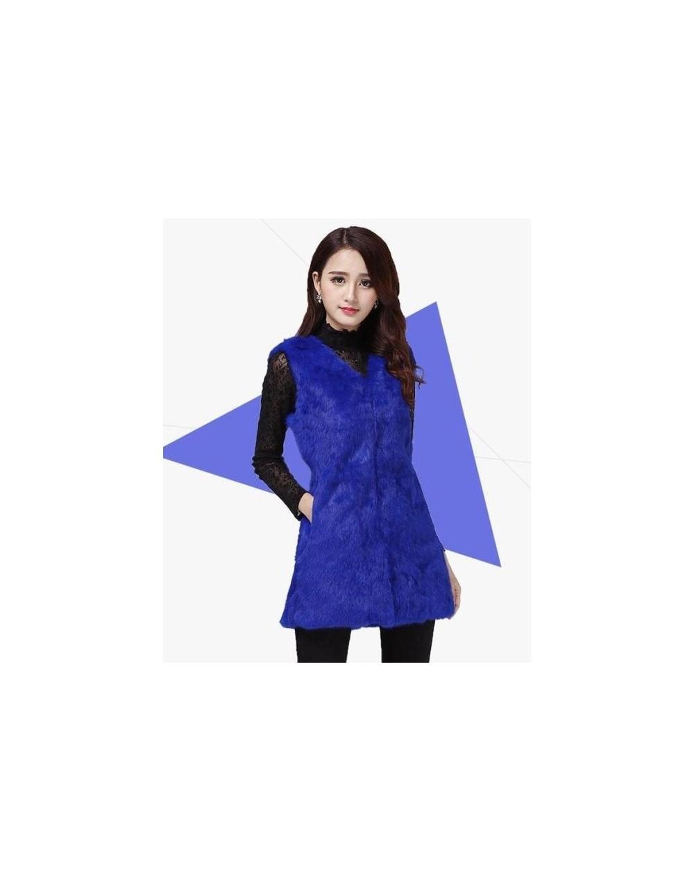 Real natural genuine rabbit fur coat women fashion rabbit fur vest gilet ladies jacket outwear overcoat custom any size - Bl...