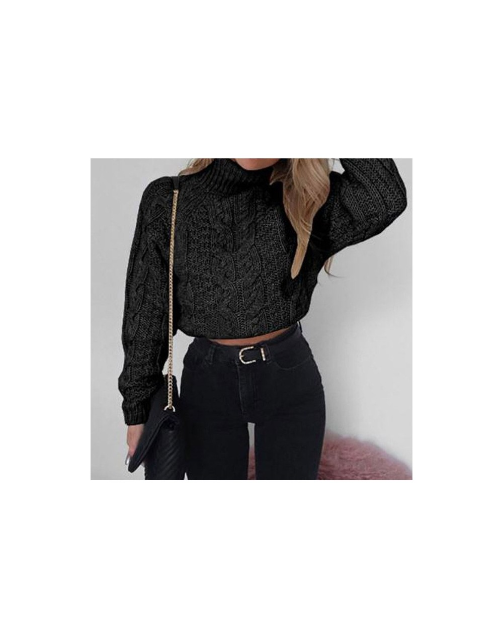 2019 Autumn Knitted Sweater Women High Neck Sweater Winter Pullover Short Sweater Knitted Turtleneck Warm Crop Sweaters Ladi...