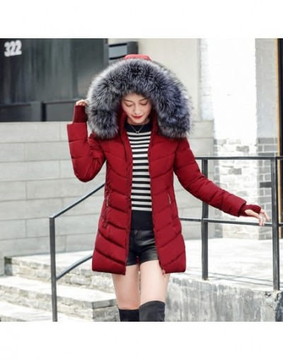 winter jacket women parka oblique zipper with hat long womens winter jackets and coats camperas mujer invierno 2019 - red - ...