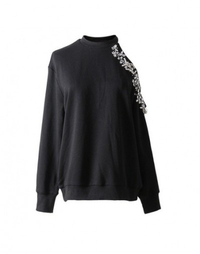Sexy Off Shoulder Sweatshirt Tops Female Diamond Long Sleeve Pullover Sweatshirts Women Casual Clothes 2018 Autumn - black s...