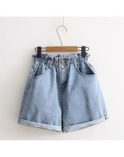 Breif all match high waist elastic loose denim shorts women cotton wide leg jeans 2colors SMLXL 2019 summer new arrivals - B...