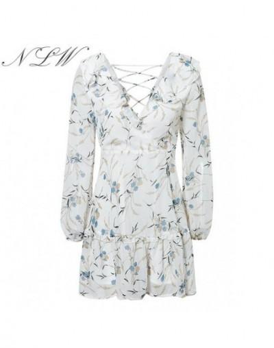 Back Lace up Ruffel Pink Dress Mesh Long Sleeve White Print Floral Dress 2019 Autumn Winter V Neck Short Beach Dress - White...