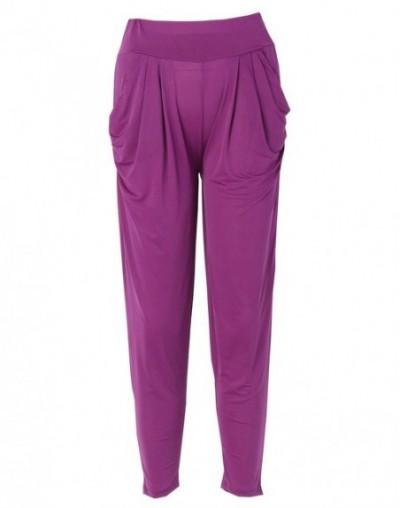 Candy Color Ladies Fashion Slim Casual Harem Baggy Dance Sweat Pants Trousers - Purple - 473978290591-10