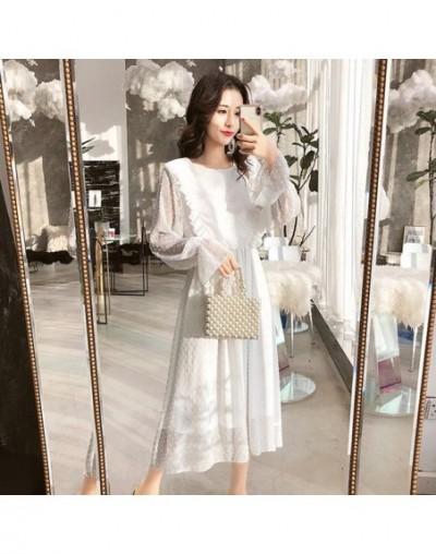 Ruffles Polka Dot Women Chiffon Dress Elastic Waist Flare Sleeve Female Long Vestidos Retro A-line Women Dress 2019 - White ...