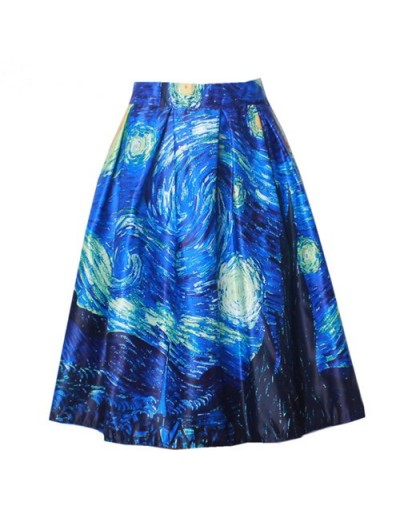 2016 Spring Summer New Ladies Elegant Fashion Graffiti Print Painting High Waist Midi Skirt Holiday Wear Saia Femininas SK08...