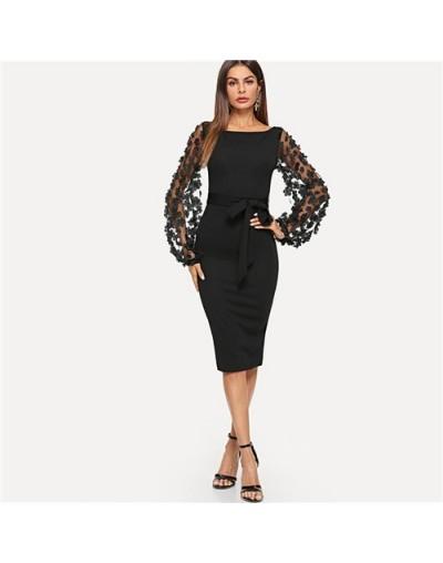 Plain Flower Applique Elegant Bodycon Party Dress Office Mesh Sleeve Knee Length Belted Women Pencil Midi Dresses - Black - ...