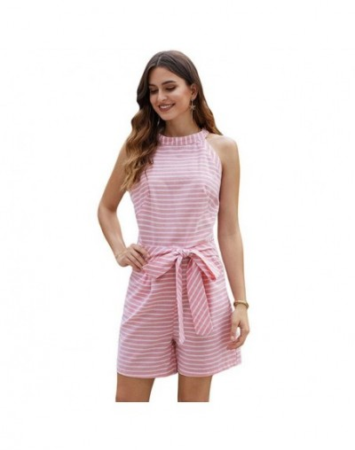 Woman's Sleeveless Striped Playsuit Romper New Summer Female Ladies Wide Leg Waist Belted Short Jumpsuits Rompers S-XL - Pin...