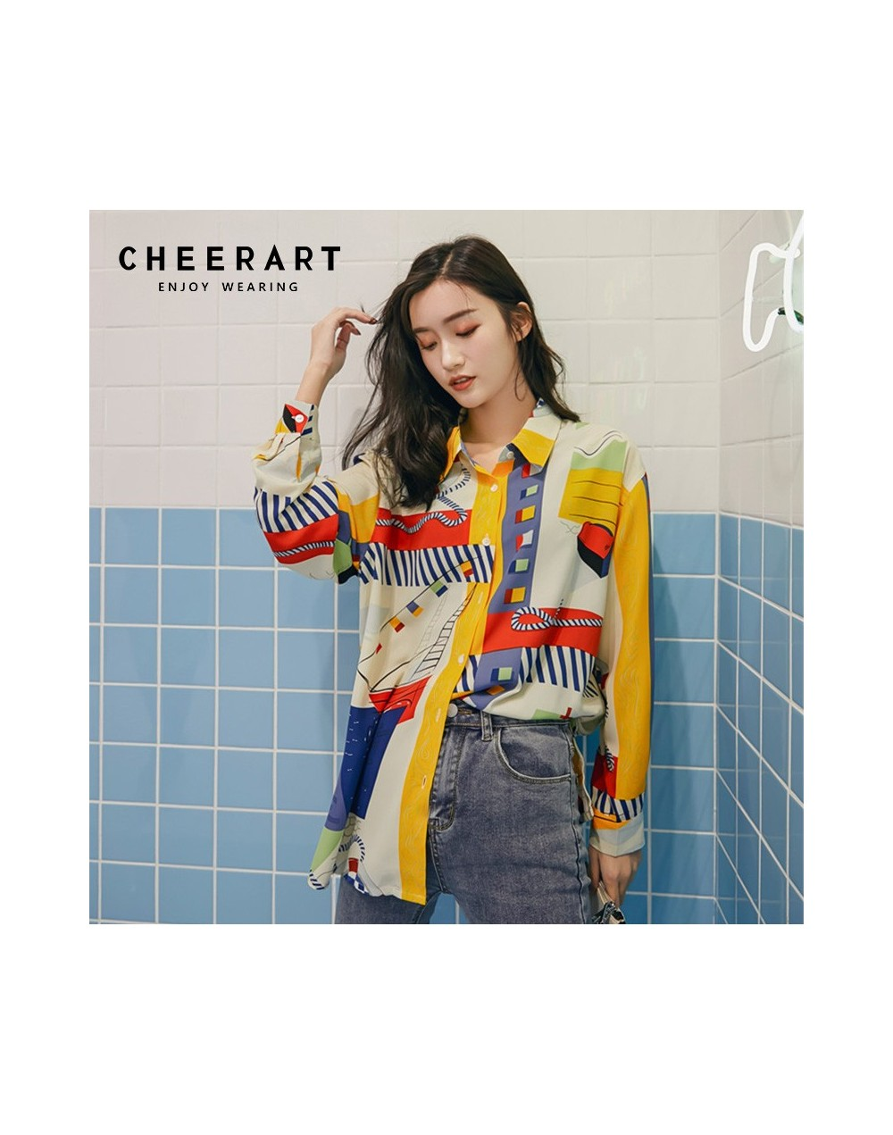 Abstraction Print Womens Tops And Blouses Color Block Long Sleeve Shirt Colorful Blouse Spring Fashion 2019 - 4C3087665745
