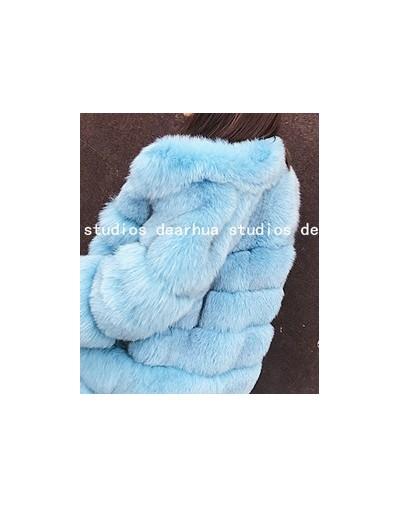 2019 New Winter Coat Women Faux Fox Fur Coat Plus Size Women Stand Collar Long Sleeve Faux Fur Jacket Fur gilet fourrure - L...