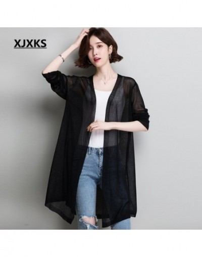 2019 spring summer new women's knitting cardigan fashion V-neck comfortable linen high-end women's thin sweater cardigan - B...