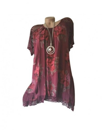 Women Oversize Blouse Shirt Lace Patchwork Flower Print Short Sleeve Casual Asymmetrical A Line Tunic Blouse Plus Size 5XL -...