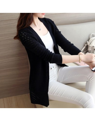 Spring Womens Female Hollow Sexy Long Sleeve Casual Korean Femme Knitted Basic Coats Black White Pink Sweaters Clothes - as ...