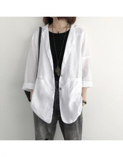 2019 Loose cotton linen suit jacket female casual slim shirt Female Work Office Lady solid color Business cotton ladies blaz...