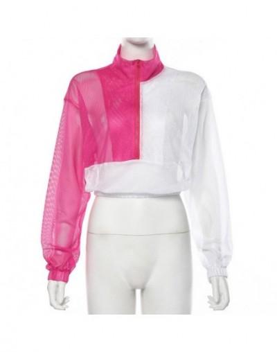 2019 long sleeve zipper patchwork hooded transparent sexy crop top autumn winter women hoodies streetwear outfits - White - ...