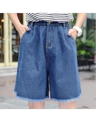 High Waisted Elegant Denim Shorts Womens Sexy Jeans Short MID-Length Wide Leg With Tassel Cotton Blue Thin Plus Size S-3XL -...