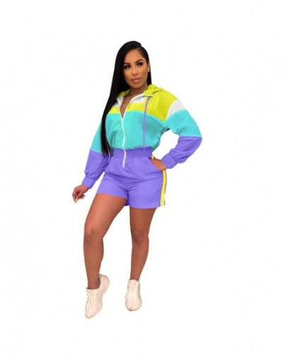 2019 New Summer Casual Patchwork Colors Women Playsuits Zippers Front Pockets Pants Jumpsuit Long Sleeve Print Hoodie Bodysu...