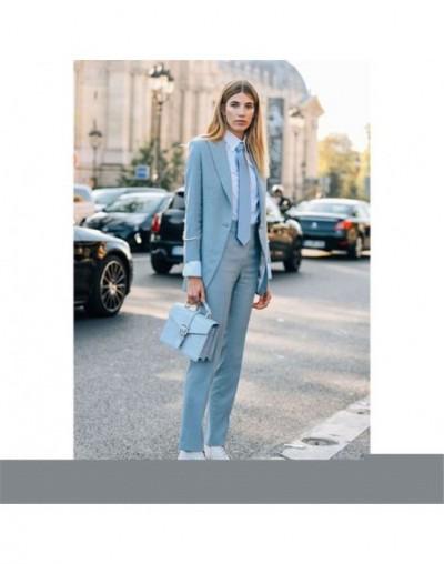2019 Light Blue Women's Formal Wedding Tuxedo Suits Female Office Business Uniform Suits Women Custom Made 2 Pieces Suits - ...