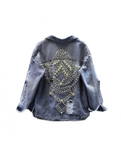 Pearls frayed hole denim jacket women long sleeve fashion 2019 new arrival - Blue - 4V3008005419