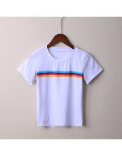 Women Jamie Rainbow Tops Soft Cotton Crewneck Rainbow Stripes Tees Girl's Rainbow Short Sleeve T-shirts - white - 4F39111060...