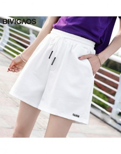 2019 Summer Women Solid Color Cotton White Shorts Loose Casual Wide Leg High Waist Shorts Straight Drawstring Shorts - White...