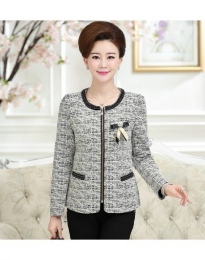 Spring Autumn New Fashion 5XL Plus Size Women Jacket Coat O-Neck Long-Sleeve Zipper Blazer Mother Top Female Outwear - Gray ...