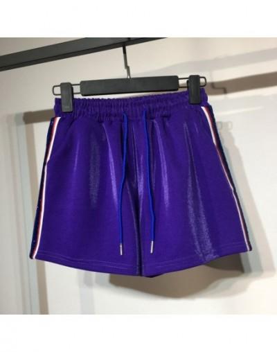 New Summer Autumn Side Stripe Women Shorts Elastic Waist Shiny Sporting Short Pants Ladies Loose Casual Wide Leg Shorts SF83...
