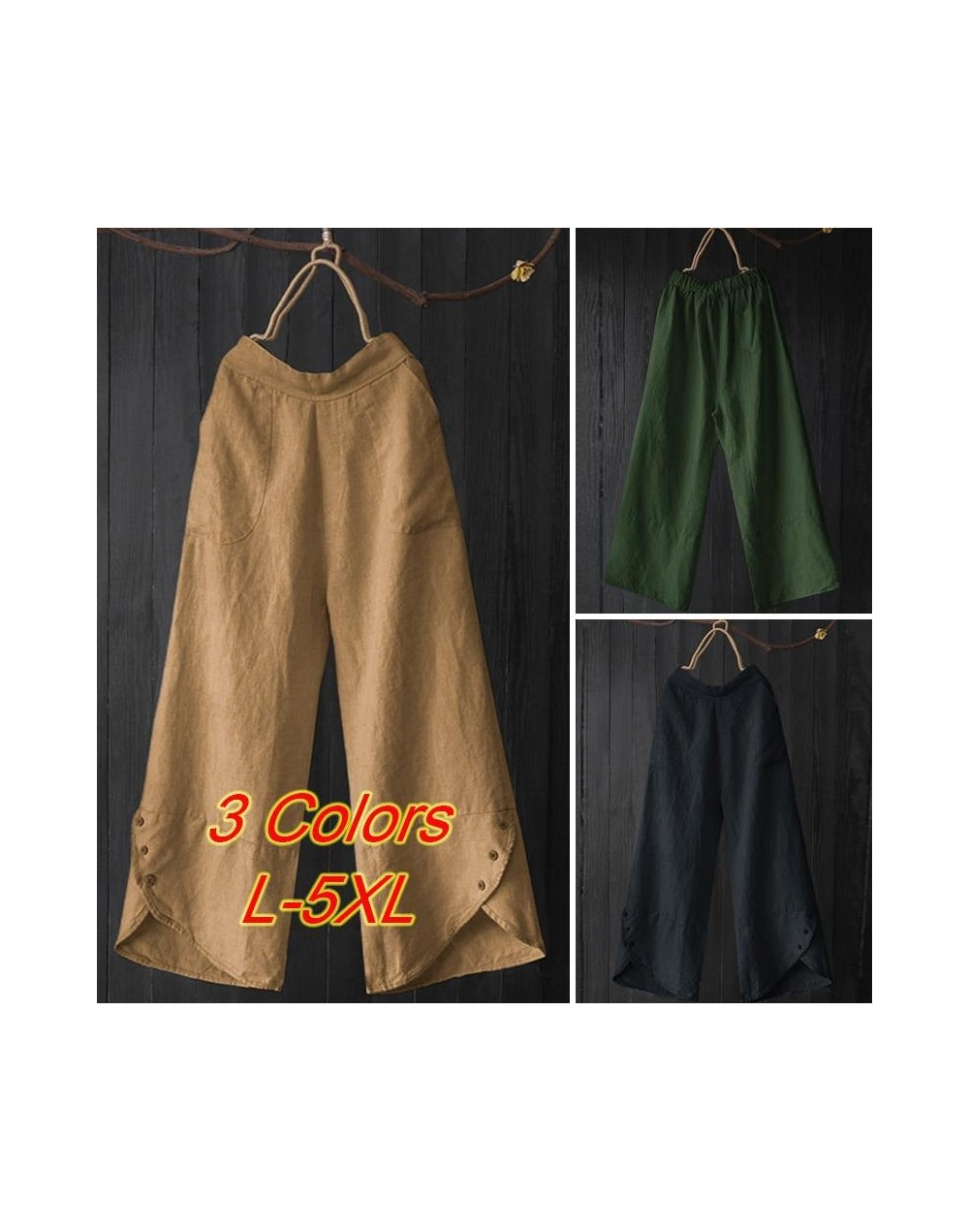 Vintage Solid Button Wide Leg Pants 2019 Women Irregular Loose Pantalon Casual Elastic Waist Work Office Long Trousers Femal...