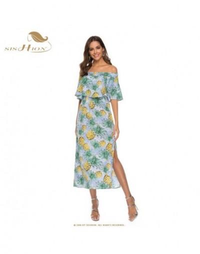 Half Sleeve Summer Beach Dress SD0301 Slash Neck Yellow Light Blue Chiffon Pineapple Print Long Bohemian Dress - Sky Blue - ...