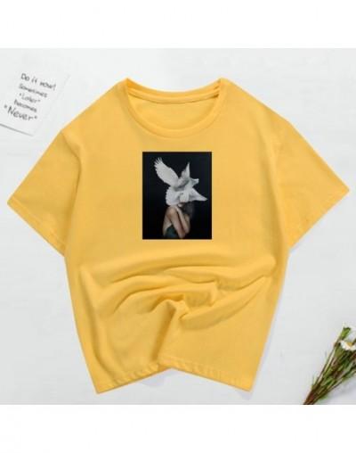 Fashion T Shirt Women 2019 New 100% Cotton Harajuku Aesthetics Tshirt Sexy Flowers Feather Print Tops Casual Couple T-shirt ...