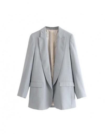 women basic solid blazers long sleeve open stitch pockets pink green female outwear elegant jacket coat tops CA511 - as pict...