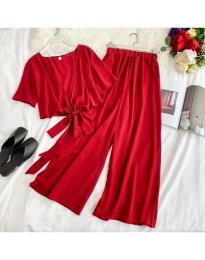 Beach Style Two Piece Set Top and Pants Lace Up Short V-neck Blouses Elastic High Waist Wide Leg Pants Women Set 11537 - red...