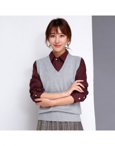 Cashmere Autumn Sweater Vest Womens Casual Solid V-neck Sleeveless Korean Style Pullover Wool Knitted Vest Winter Jumper 201...