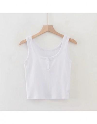 Women Button Front Ribbed Tank Top Cotton Vest - white - 4C4137360798-1