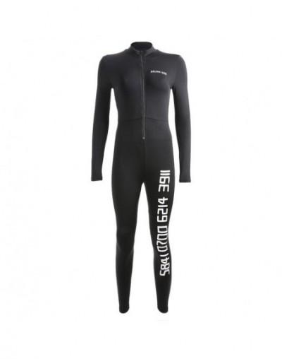 Black Sexy Bodycon Jumpsuit Romper Long Sleeve Bodysuit Women Zipper V Neck Jumpsuit Elegant Full Length Polyester 2018 - Bl...