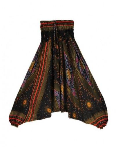 Autumn High Waist Boho Pants Women Cross-Pants Fashion Plus Size Loose Bohemia Print Women Trousers 3 Colors - Black - 4G392...