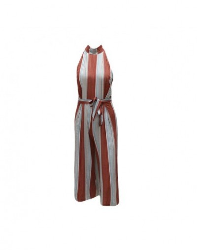 2019 Fashion Striped Print Summer Jumpsuit Sexy Sleeveless Rompers Womens Jumpsuit Casual Beach Party Playsuit Leotard - Red...