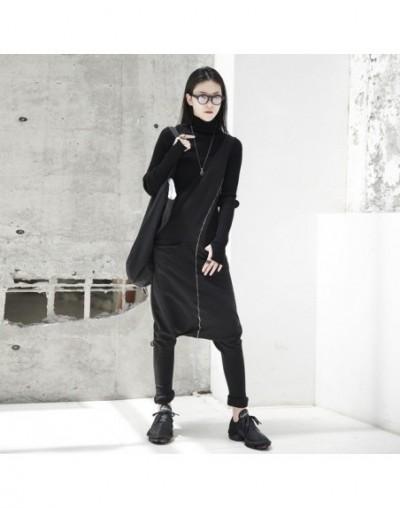 2019 New Spring Black Women Fashion Tide Wild Asymmetry Slim Ankle-leng Pants Double Pocket Jumpsuits LA915 - black jumpsuit...