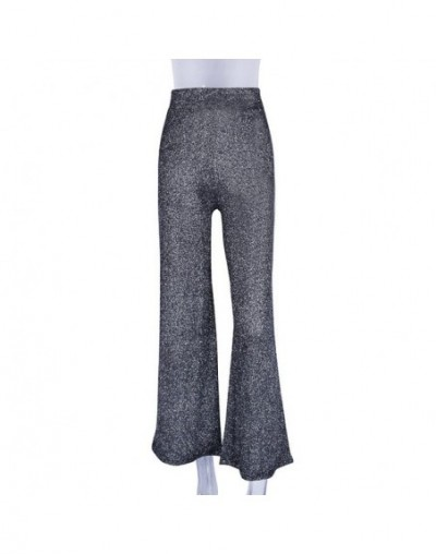reflective high waist trousers wide leg loose casual leggings 2019 spring women fashion party pants - Black - 4Z3081446088