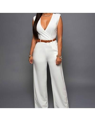 Women Sleeveless V-Neck High Waist Wide Leg Romper Pants Jumpsuit with Belt - red - 4T3868056219-7